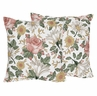 Vintage Floral Boho Decorative Accent Throw Pillow Case Covers by Sweet Jojo Designs - Set of 2 (Inserts Not Included) - Blush Pink, Yellow, Green and White Shabby Chic Rose Flower Farmhouse