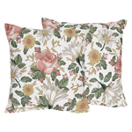 Vintage Floral Boho Decorative Accent Throw Pillows by Sweet Jojo Designs - Set of 2 - Blush Pink, Yellow, Green and White Shabby Chic Rose Flower Farmhouse