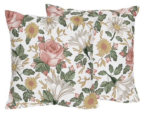 Vintage Floral Boho Decorative Accent Throw Pillows by Sweet Jojo Designs - Set of 2 - Blush Pink, Yellow, Green and White Shabby Chic Rose Flower Farmhouse - Click to enlarge