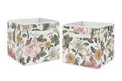 Vintage Floral Boho Foldable Fabric Storage Cube Bins Boxes Organizer Toys Kids Baby Childrens by Sweet Jojo Designs - Set of 2 - Blush Pink, Yellow, Green and White Shabby Chic Rose Flower Farmhouse