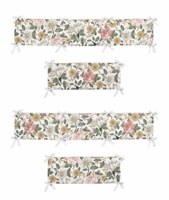 Vintage Floral Boho Girl Baby Nursery Crib Bumper Pad by Sweet Jojo Designs - Blush Pink, Yellow, Green and White Shabby Chic Rose Flower Farmhouse