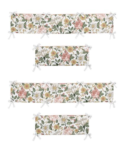 Vintage Floral Boho Girl Baby Nursery Crib Bumper Pad by Sweet Jojo Designs - Blush Pink, Yellow, Green and White Shabby Chic Rose Flower Farmhouse - Click to enlarge