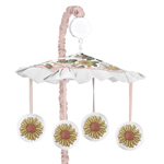 Vintage Floral Boho Girl Baby Nursery Musical Crib Mobile by Sweet Jojo Designs - Blush Pink, Yellow, Green and White Shabby Chic Rose Flower Farmhouse