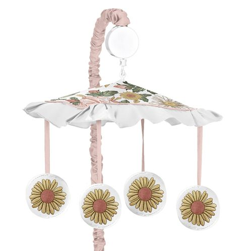 Vintage Floral Boho Girl Baby Nursery Musical Crib Mobile by Sweet Jojo Designs - Blush Pink, Yellow, Green and White Shabby Chic Rose Flower Farmhouse - Click to enlarge