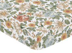 Vintage Floral Boho Girl Fitted Crib Sheet Baby or Toddler Bed Nursery by Sweet Jojo Designs - Blue, Yellow, Green and Ivory Shabby Chic Rose Flower Farmhouse