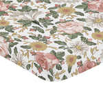 Vintage Floral Boho Girl Fitted Mini Crib Sheet Baby Nursery by Sweet Jojo Designs For Portable Crib or Pack and Play - Blush Pink, Yellow, Green and White Shabby Chic Rose Flower Farmhouse