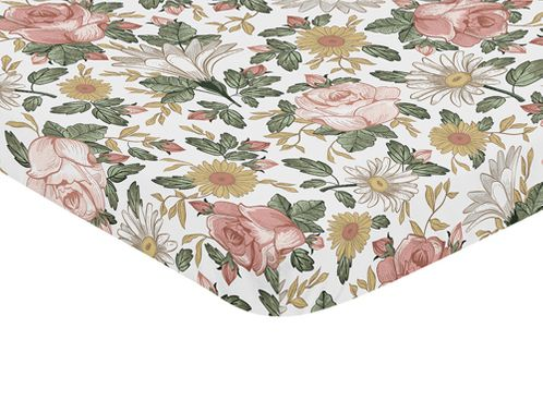 Vintage Floral Boho Girl Fitted Mini Crib Sheet Baby Nursery by Sweet Jojo Designs For Portable Crib or Pack and Play - Blush Pink, Yellow, Green and White Shabby Chic Rose Flower Farmhouse - Click to enlarge