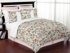 Vintage Floral Boho Girl Full / Queen Size Kid Childrens Bedding Comforter Set by Sweet Jojo Designs - 3 pieces - Blush Pink, Yellow, Green and White Shabby Chic Rose Flower Farmhouse