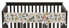 Vintage Floral Boho Girl Long Front Crib Rail Guard Baby Teething Cover Protector Wrap by Sweet Jojo Designs - Blush Pink, Yellow, Green and White Shabby Chic Rose Flower Farmhouse