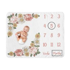 Vintage Floral Boho Girl Milestone Blanket Monthly Newborn First Year Growth Mat Baby Shower Gift Memory Keepsake Picture by Sweet Jojo Designs - Blush Pink Yellow Green Shabby Chic Rose Flower Farmhouse