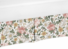 Vintage Floral Boho Girl Pleated Baby Nursery Crib Bed Skirt Dust Ruffle by Sweet Jojo Designs - Blush Pink, Yellow, Green and White Shabby Chic Rose Flower Farmhouse