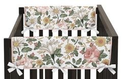 Vintage Floral Boho Girl Side Crib Rail Guards Baby Teething Cover Protector Wrap by Sweet Jojo Designs - Set of 2 - Blush Pink, Yellow, Green and White Shabby Chic Rose Flower Farmhouse