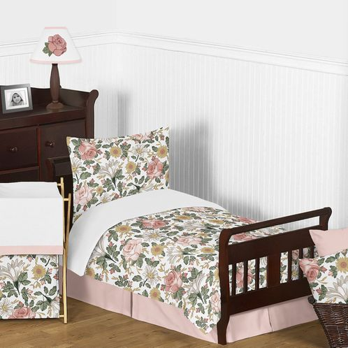 Vintage Floral Boho Girl Toddler Kid Childrens Comforter Bedding Set by Sweet Jojo Designs - 5 pieces Comforter, Sham and Sheets - Blush Pink, Yellow, Green and White Shabby Chic Rose Flower Farmhouse - Click to enlarge