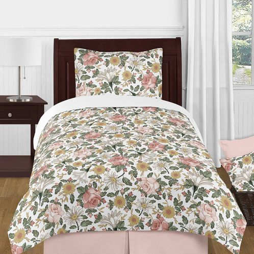 Vintage Floral Boho Girl Twin Size Kid Childrens Bedding Comforter Set by Sweet Jojo Designs - 4 pieces - Blush Pink, Yellow, Green and White Shabby Chic Rose Flower Farmhouse - Click to enlarge