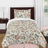 Vintage Floral Boho Girl Twin Size Kid Childrens Bedding Comforter Set by Sweet Jojo Designs - 4 pieces - Blush Pink, Yellow, Green and White Shabby Chic Rose Flower Farmhouse