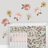 Vintage Floral Boho Peel and Stick Wall Decal Stickers Art Nursery Decor by Sweet Jojo Designs - Set of 4 Sheets - Blush Pink, Yellow, Green and White Shabby Chic Rose Flower Farmhouse