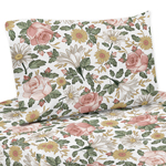 Vintage Floral Boho Queen Sheet Set by Sweet Jojo Designs - 4 piece set - Blush Pink, Yellow, Green and White Shabby Chic Rose Flower Farmhouse