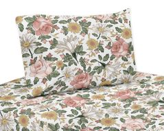 Vintage Floral Boho Twin Sheet Set by Sweet Jojo Designs - 3 piece set - Blush Pink, Yellow, Green and White Shabby Chic Rose Flower Farmhouse