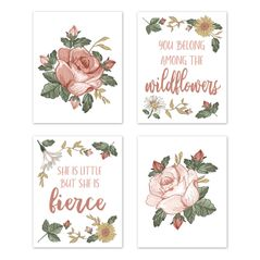 Vintage Floral Boho Wall Art Prints Room Decor for Baby, Nursery, and Kids by Sweet Jojo Designs - Set of 4 - Blush Pink, Yellow, Green and White Shabby Chic Rose Flower Farmhouse Wildflower