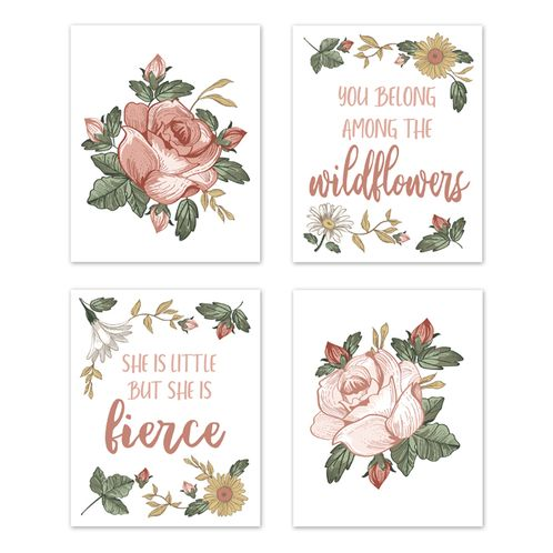 Vintage Floral Boho Wall Art Prints Room Decor for Baby, Nursery, and Kids by Sweet Jojo Designs - Set of 4 - Blush Pink, Yellow, Green and White Shabby Chic Rose Flower Farmhouse Wildflower - Click to enlarge