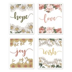 Vintage Floral Boho Wall Art Prints Room Decor for Baby, Nursery, and Kids by Sweet Jojo Designs - Set of 4 - Blush Pink, Yellow, Green, White Shabby Chic Rose Flower Farmhouse Hope Love Joy Wish