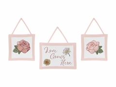 Vintage Floral Boho Wall Hanging Decor by Sweet Jojo Designs - Set of 3 - Blush Pink, Yellow, Green and White Shabby Chic Rose Flower Farmhouse Love Grows Here