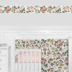 Vintage Floral Boho Wallpaper Wall Border by Sweet Jojo Designs - Blush Pink, Yellow, Green and White Shabby Chic Rose Flower Farmhouse