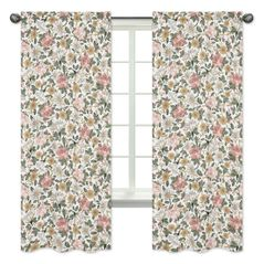 Vintage Floral Boho Window Treatment Panels Curtains by Sweet Jojo Designs - Set of 2 - Blush Pink, Yellow, Green and White Shabby Chic Rose Flower Farmhouse