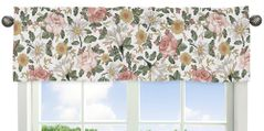 Vintage Floral Boho Window Treatment Valance by Sweet Jojo Designs - Blush Pink, Yellow, Green and White Shabby Chic Rose Flower Farmhouse