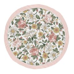 Vintage Floral Girl Baby Playmat Tummy Time Infant Play Mat by Sweet Jojo Designs - Blush Pink, Yellow, and Green Boho Shabby Chic Rose Flower Farmhouse