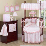 Vintage French Pink Toile Baby Bedding - 9 pc Round Crib Set