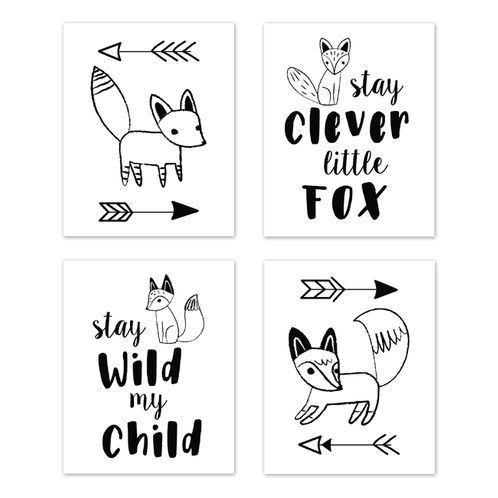 Wall Art Prints Room Decor for Baby, Nursery, and Kids for Black and White Fox Collection by Sweet Jojo Designs - Set of 4 - Stay Clever, Stay Wild - Click to enlarge