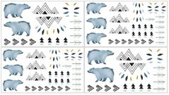 Bear Mountain Watercolor Peel and Stick Wall Decal Stickers Art Nursery Decor by Sweet Jojo Designs - set of 4 sheets
