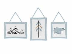 Wall Hanging Decor for Bear Mountain Watercolor Collection by Sweet Jojo Designs - Set of 3