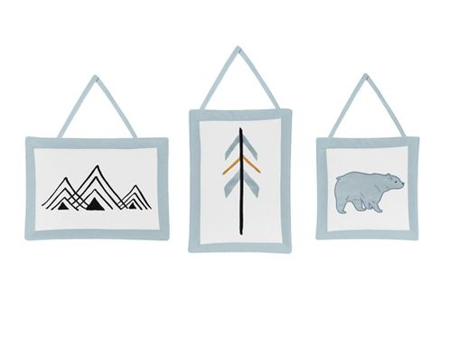 Wall Hanging Decor for Bear Mountain Watercolor Collection by Sweet Jojo Designs - Set of 3 - Click to enlarge