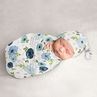 Watercolor Floral Baby Girl Cocoon and Beanie Hat 2pc Set Jersey Stretch Knit Sleeping Bag for Infant Newborn Nursery Sleep Wrap Sack by Sweet Jojo Designs - Navy Blue and Blush Pink Boho Shabby Chic Rose Flower
