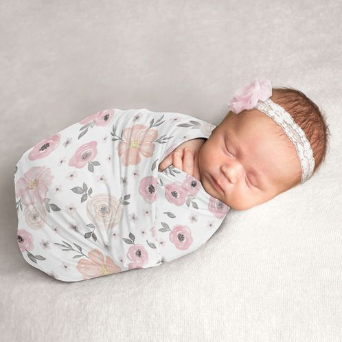 Watercolor Floral Baby Girl Swaddle Blanket Jersey Stretch Knit for Newborn or Infant Receiving Security by Sweet Jojo Designs - Blush Pink, Grey and White Boho Shabby Chic Rose Flower - Click to enlarge