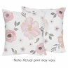 Watercolor Floral Decorative Accent Throw Pillow Case Covers by Sweet Jojo Designs - Set of 2 (Inserts Not Included) - Blush Pink, Grey and White Shabby Chic Rose Flower