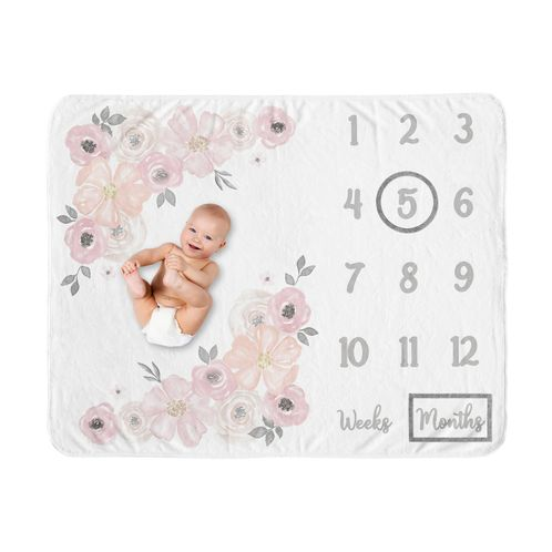 Watercolor Floral Girl Milestone Blanket Monthly Newborn First Year Growth Mat Baby Shower Gift Memory Keepsake Picture by Sweet Jojo Designs - Blush Pink, Grey and White Boho Shabby Chic Rose Flower - Click to enlarge