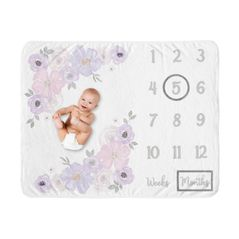 Watercolor Floral Girl Milestone Blanket Monthly Newborn First Year Growth Mat Baby Shower Gift Memory Keepsake Picture by Sweet Jojo Designs - Lavender Purple, Pink and Grey Boho Shabby Chic Rose Flower