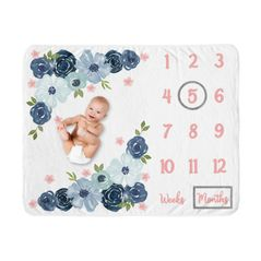 Watercolor Floral Girl Milestone Blanket Monthly Newborn First Year Growth Mat Baby Shower Gift Memory Keepsake Picture by Sweet Jojo Designs - Navy Blue and Blush Pink Boho Shabby Chic Rose Flower