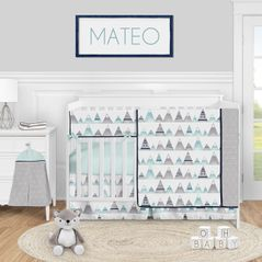 Watercolor Mountains Baby Boy or Girl Nursery Crib Bedding Set by Sweet Jojo Designs - 5 pieces - Navy Blue Aqua and Grey Aztec