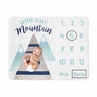 Watercolor Mountains Boy or Girl Milestone Blanket Monthly Newborn First Year Growth Mat Baby Shower Memory Keepsake Gift Picture by Sweet Jojo Designs - Navy Blue Aqua and Grey Aztec Gender Neutral Climb Every Mountain
