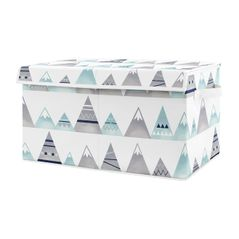 Watercolor Mountains Boy or Girl Small Fabric Toy Bin Storage Box Chest For Baby Nursery or Kids Room by Sweet Jojo Designs - Navy Blue, Aqua and Grey Aztec
