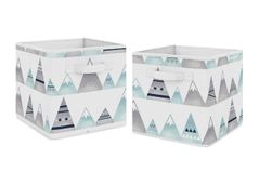 Watercolor Mountains Foldable Fabric Storage Cube Bins Boxes Organizer Toys Kids Baby Childrens by Sweet Jojo Designs - Set of 2 - Navy Blue, Aqua and Grey Aztec