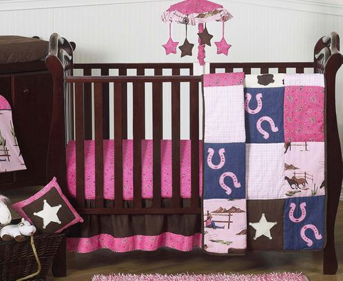 Western Horse Cowgirl Baby Bedding - 11pc Crib Set - Click to enlarge