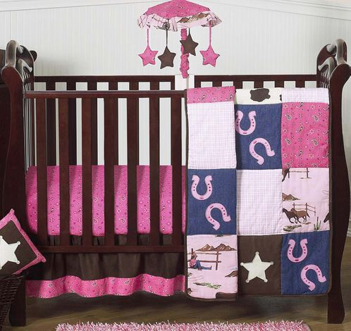Western Horse Cowgirl Baby Bedding - 4pc Crib Set - Click to enlarge