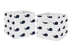 Whale Foldable Fabric Storage Cube Bins Boxes Organizer Toys Kids Baby Childrens by Sweet Jojo Designs - Set of 2 - Navy Blue and White Nautical Ocean