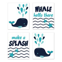 Whale Wall Art Prints Room Decor for Baby, Nursery, and Kids by Sweet Jojo Designs - Set of 4 - Turquoise and Navy Blue Nautical Ocean Sea