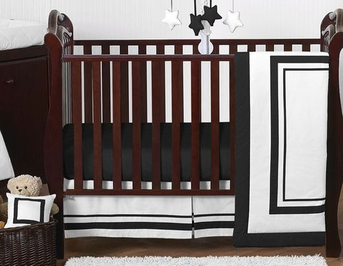 White and Black Modern Hotel Baby Bedding - 11pc Crib Set by Sweet Jojo Designs - Click to enlarge